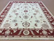 9and039 X 12and039 Beige Red Fine Oushak Oriental Area Rug Hand Knotted Wool All-over