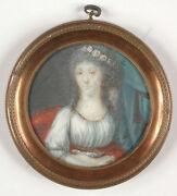 Portrait Of A Lady With Wreath Of Roses French Miniature Ca. 1790