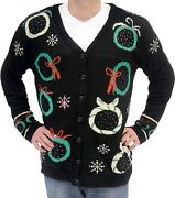 Adult Black Ugly Christmas Sweater Wreath Snow Flake Button Cardigan Vest Lights