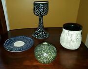 Lot- 4 pieces hand painted pottery signed Schneider cup vase bowl plate eclectic