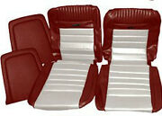 Mustang Deluxe Pony Seat Trim Kit Dark Red And White 65 66 1965 1966 Convertible