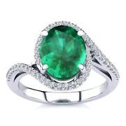14k Gold 2 1/2 Carat Oval Emerald And Halo Diamond Ring - In 3 Gold Colors