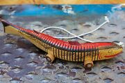 """Vintage Pull Toy Hand Made Painted 13.5"""" Wood Jointed Fish With Swimming Action"""