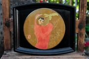 Vintage Asian Hand Painted Lacquer Wood Serving Tray Signed