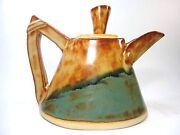 Geometric art Teapot of slabs and coils, Exquisite Glazed Tea Pot  green, Browns