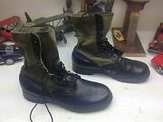 Vintage 67 Bata Military Usa Black Leather Lace Up Engineer Boss Army Boots 10w