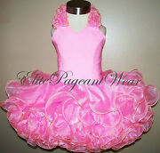 National Pageant Dress Shell Size 6mos To 7/8 Girls Halter Bubble Gum Pink/gold