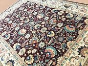 9and039 X 12and039 Burgundy Beige Stunning Ziegler Oriental Rug Hand Knotted Wool All-over