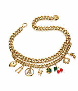 Auth Anna Dello Russo Gold Family At Handm Belt Chain Charms Necklace Adr Bracelet