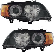 Hid Headlights Assembly W/bulb Yellow Turn Signal Pair Set For 00-03 Bmw X5