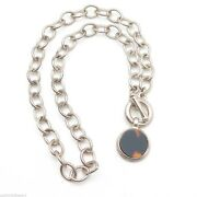 Sterling Silver Amber Pendant Cable Link Chain Toggle Necklace 15andrdquo
