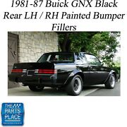1981-87 Buick Gnx Oem Quality Black Rear Lh / Rh Painted Bumper Fillers - Pair