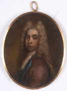 Young Aristocrat In An Allonge Wig Good Quality English Oil On Copper Min.