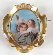 Golden Brooch With Miniature Enamel Painting, England, 1st Half Of 19th C.