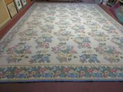 12and039 X 16and039 Stark Usa Hand Made Portuguese Flat Weave Wool Floral Rug Carpet Chic