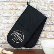 Personalised Double Oven Gloves Mitt - Bar And Grill Mens Bbq Chef Gift - Black