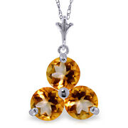 0.75 Ctw 14k Solid White Gold Fine Play Fire Citrine Necklace 20