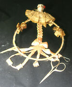Original Antique C1800and039s Victorian Ribbon And Ring Porcelain Doll Chatelaine