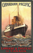 Canadian Pacific Poster Type Empress Steamers Largest And Fastest Canada Postcard