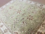 9and039 X 12and039 Soft Green Fine Ziegler Oriental Rug Hand Knotted Wool All-over