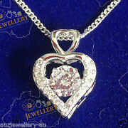 Real 925 Sterling Silver Rhodium Plated Heart Pendant With 17 Chain