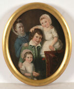 Group Portrait Of A Lady With Her Three Children English School Oil On Panel