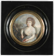 Portrait Of A Lady In Park High Quality German Neoclassical Miniature
