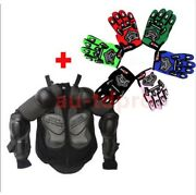 Kids Motorcycle Full Body Armor Jacket Spine Chest Protection Gear + Gloves