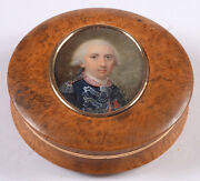 Round Box With Miniature Portrait Of A Colonel Of Guards France 1780s