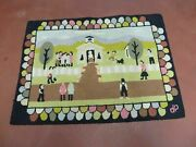 2and039 X 3and039 Vintage Hand Tufted Children Playing Hooked Rug Wool Nice