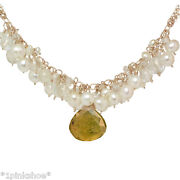 Necker 293 Pearl Cluster Necklace With Center Stone And Metal Choice