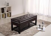 Cosmopolitan Ottoman Bench Storage Containers Espresso Brown Wood Pu Leather New