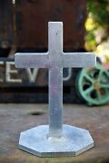 """Large Art Deco Style Standing Table Cross 13"""" Tall"""