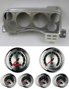87-89 Mustang Silver Dash Carrier W/ Auto Meter American Muscle Gauges