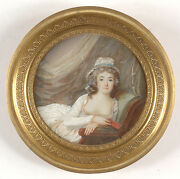 Louis Lie Perin-salbreux-attrib. Beauty With Bare Breasts Important Miniature