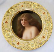 19th Century Royal Vienna Hand Painted Porcelain Jeweled And Enamel Plate