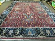 10' X 13' Antique Hand Made Indian Agra Larastan Wool Rug Floral Red Nice