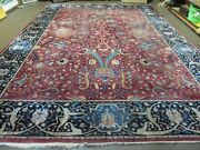 10and039 X 13and039 Antique Hand Made Indian Agra Larastan Wool Rug Floral Red Nice