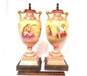 Hand Painted Porcelain Table Lamp Signed Decorated W/ Puti, Sculpturist Artist