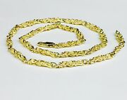 10kt Solid Yellow Gold Handmade Nugget Link Chain/necklace 24 29 Grams 4.5 Mm