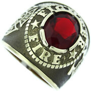 Firefighter Fire Dept. Red Stone Gold Ep Mens Ring