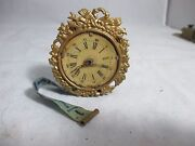 Rare Fancy Clock Brass Wind-up Tape Measure Antique C1800and039s