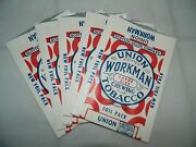 Vintage 5 1930s Union Workman Large Size Chewing Tobacco Empty New Foil Packs B