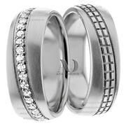10k White Gold 7mm Wide 0.70 Ctw Bride And Groom Diamond Wedding Ring
