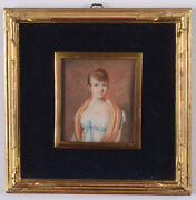 Mme Cecile Marchand Fl. 1802/42 Lady In Empire Dress Miniature