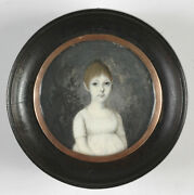 Portrait Of A Little Girl High Quality French Miniature Ca.1800