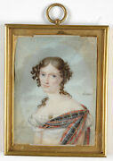 Marc-antoine Hervier Nellina Campbell, Rare Miniature, Late 1810s