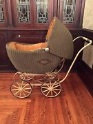 Large Antique Vintage Rattan Wicker Baby Carriage With Corduroy Lining 45 Long