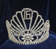 Crystal Clear Rhinestones Tiara Sweet 16 W/combs.silver Plated Crown. 4.5 Tall