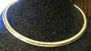 Omega Necklace 10k Solid Yellow Gold 6mm Wide / 16 Inches Long